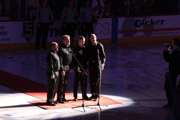 Singing our National Anthem for an Allen Americans game